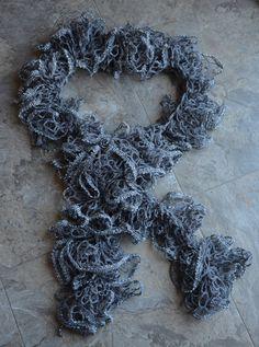 silver crochet ruffle sashay scarf