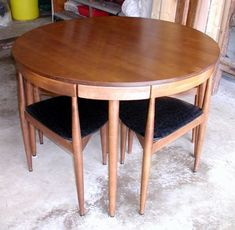 Washington DC: Mid-Century Modern Round Dining Room Table Chairs Walnut Danish Style $550 - http://furnishlyst.com/listings/351297