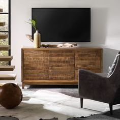 Hooker Furniture 64 in. Entertainment Console with Slat Doors - 5517-55464-MWD
