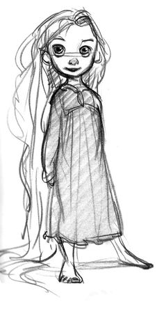 Glen Keane - baby rapunzel a black and white picture helps to see the simple sh. - Glen Keane – baby rapunzel a black and white picture helps to see the simple shapes to use Estás - Art Disney, Disney Concept Art, Disney Tangled, Disney Pixar, Tangled Concept Art, Punk Disney, Character Sketches, Character Design References, Character Drawing