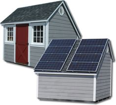 Small Shed With Solar Panels On Roof.