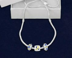 Down Syndrome Pandora Style Blue & Yellow Awareness Ribbon Necklace #downsyndrome #awareness #kidswithdownsyndrome #jewelry #necklace