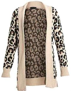 vip Women's Leopard Knitted Drape Cardigan at Amazon Women's Clothing store