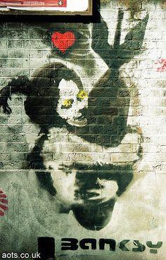 Photography _ Bomb Hugger Bomblove photos of graffiti, Brick Lane byBanksy Outdoor Sculpture, Outdoor Art, Banksy Art, Bansky, Political Art, Stencil Art, Street Art Graffiti, Street Artists, Urban Art