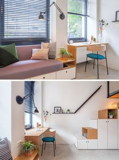 The designers of this small apartment created a built-in couch and desk unit that runs along the windows. Built In Furniture, Furniture Plans, Furniture Design, Interior Fit Out, Interior Design, Small Apartments, Small Spaces, Built In Couch, Student House