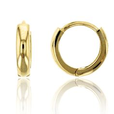14K Yellow Gold High Polished 2.15x9.00mm Huggie Earring. 14K SOLID GOLD: This product is made of solid 14K gold and each piece is carefully trademarked with the metal purity for certification. Each piece is stamped 14K or 585 and that guarantees the quality and craft. DESIGN & FINISH: We understand gold and we really understand the manufacturing process of precious metal. Each piece is carefully designed from scratch by our design department and we present to you our finished product. We...