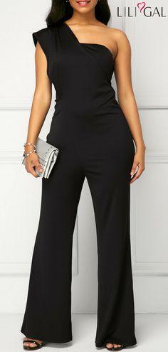 b7c5569cc8e Black Zipper Back One Shoulder Jumpsuit  liligal  jumpsuits  womenswear   womensfashion One Shoulder