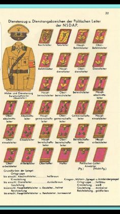 Uniform NSDAP Army Ranks, Military Ranks, Military Insignia, Military History, Ww2 Uniforms, German Uniforms, Military Uniforms, Grade Militaire, Uniform Insignia
