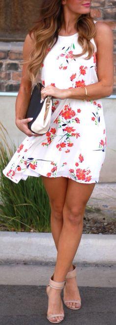 White floral dress.