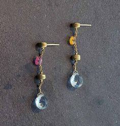 Marco Bicego Paradise Briolette Necklace Gold Blue Topaz Citrine And Pink Tourmaline Earrings On Post Roximately In Length
