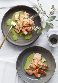 Trifecta of the sea & herb emulsion - Trois fois par jour Fruit Salad Recipes, Fish Recipes, Seafood Recipes, Great Recipes, Cooking Recipes, Yummy Recipes, Weeknight Meals, Easy Meals, Healthy Recepies