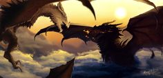 Paarthurnax vs Alduin by Kabukins
