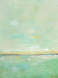 Abstract Seacsape Painting Orignal Art - Dream in Green 16 x 20. by linda donohue