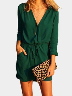 Green V-neck Drawstring Waist 3/4 Length Sleeves Dress - US$15.95 -YOINS#playsuit#fashion