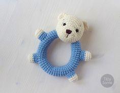 Teddy Bear Rattle Pattern   Crochet Rattle Toy   Baby Rattle   Teether Pattern   Infant Rattle PDF Crochet Pattern