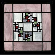 Edel Byrne Rose Water Glass Border Stained Glass Panel, Artistic Artisan Designer Window Panels