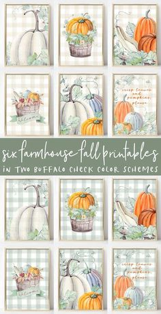 These Six Fall Farmhouse Printables come in two watercolor looks: neutral and green buffalo check. Perfect for your autumn decor. Autumn Crafts, Autumn Art, Thanksgiving Crafts, Buffalo Check, Imprimibles Halloween, Fall Projects, Dollar Tree Crafts, Printable Art, Free Printables
