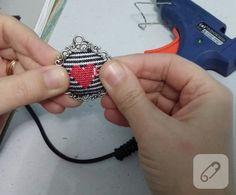 Kanaviçe işlemeli kolye yapımı