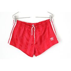 80's Adidas Shorts, Vintage Adidas Sport Shorts, Nylon Adidas Athletic... ($36) ❤ liked on Polyvore featuring activewear, activewear shorts, adidas, red slip, short slip, adidas sportswear and sports activewear