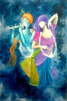 Pallavi Barooah: RADHA KRISHNA, An acrylic on canvas painting