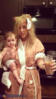 The New Mom Halloween Costume!  It's a pretty good image of what some days are like, isn't it new moms out there?  Ha, the best part about this homemade costume is you probably have everything you need right now.