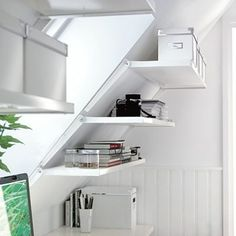 Design Add Storage to the Attic: Use shelf brackets designed for slanted walls to add storage under Ikea Interior, Interior Design Living Room, Shelf Brackets Design, Slanted Walls, Apartment Office, Closet Remodel, Ikea Shelves, Shelving, Ikea Home
