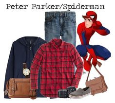 """Peter Parker/Spiderman // Marvel"" by glitterbug152 ❤ liked on Polyvore featuring J.Crew, Woolrich, Limit, Relic, Nikon, marvel, Superhero, spiderman, peterparker and allegrabounds"