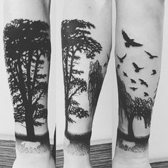 Cool Negative Space Wolf Forearm Tree Male Tattoos