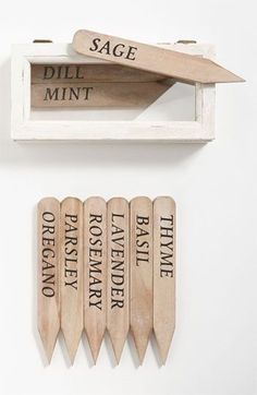 Wooden Herb Garden Stakes- Could easily create something similar with popsicle sticks homemade bird feeder upcycle! Bird House