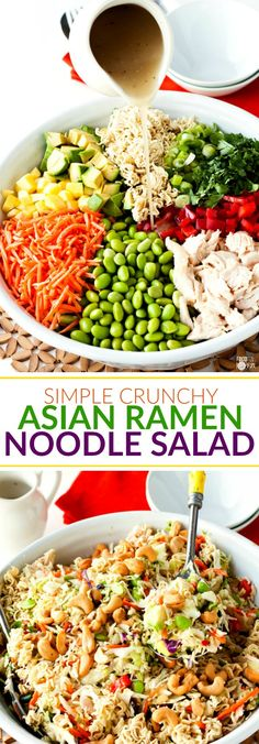 This recipe for Simple Crunchy Asian Ramen Noodle Salad is a simpler, healthier, fully-loaded version of the classic Ramen Salad. It takes just 20 minutes to make and it feeds a crowd making it perfect for potlucks! paleo dinner for a crowd Asian Ramen Noodle Salad, Ramen Noodles, Noodle Salads, Crunchy Noodle Salad, Crunchy Asian Salad, Glass Noodle Salad, Salads For A Crowd, Food For A Crowd, Meals For A Crowd
