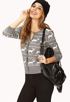 Reindeer 3/4 Sleeve Cardigan | FOREVER21 - 2027705391 cute sweater for Christmas
