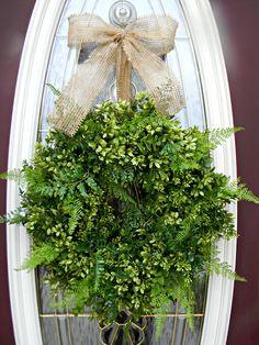 Grapevine Boxwood Fern and Burlap Door Wreath Decor. $80.00, via Etsy.