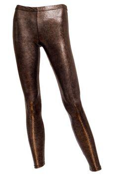 Bobbi Faux Leather Brown Leggings