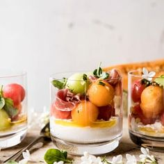 Sweet cantaloupe, honeydew, and watermelon make up this untraditional caprese salad. Tossed with a basil infused lemon vinaigrette and finished off with fresh burrata cheese, this melon caprese salad is the perfect light, Holiday Appetizers, Yummy Appetizers, Appetizer Recipes, Appetizer Ideas, Vegetarian Appetizers, Cheese Appetizers, Caprese Salat, Ensalada Caprese, Burrata Cheese
