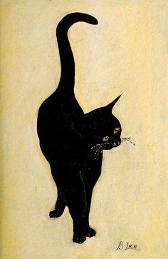 Chat noir 'Merlin, the Museum Cat' by Bert Lee I Love Cats, Crazy Cats, Cool Cats, Black Cat Art, Black Cats, Memes Arte, Illustration Art, Illustrations, Gatos Cats