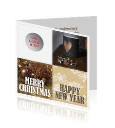 Sfeervolle zakelijke kerstkaart met fotocollage en logo.