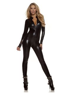 Women's Sexy Black Metallic Catsuit Costume | Wholesale Cat Suits Costumes for Adults