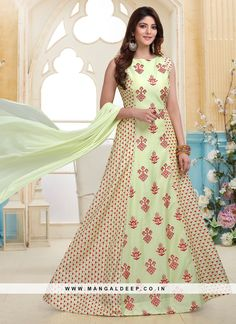 Add grace and charm on your appearance in this pista green embroidered work designer readymade anarkali suit.The brilliant attire creates a incredible embroidered work. Churidar Suits, Anarkali Suits, Salwar Kameez, Kurti, Indian Dresses, Indian Outfits, Indian Photoshoot, Wedding Styles, Saree