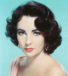 1950's make-up Elizabeth Taylor - We would try and copy her eye makeup, the eyebrows, etc. which today would be considered weird. Also her hair styles. I wore my hair like this quite often. ~~ When I did up my eyes like this my parents called me Jezebel! ~~