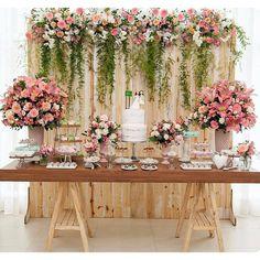 Bridal Shower Table Set Up Backdrops 45 Best Ideas Wedding Cake Table Decorations, Wedding Table, Rustic Wedding, Wedding Cakes, Dessert Table Backdrop, Pallet Wedding, Dessert Wedding, Trendy Wedding, Our Wedding