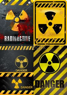 Nuclear danger warning warning lines signs Danger vector