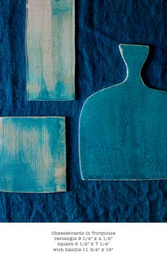 cheese boards in turquoise