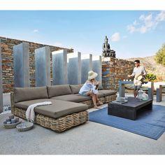 Banco para el jardín de mimbre y cojín gris topo - Formentera Formentera | Maisons du Monde