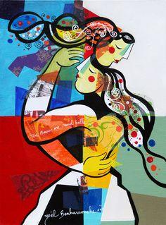 Ton amour me rend belle - 30 x 40 cm - Acrylique sur toile