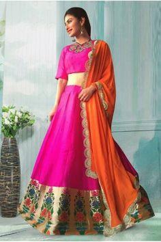 Pink Banglori Traditional Wear Lehenga Choli