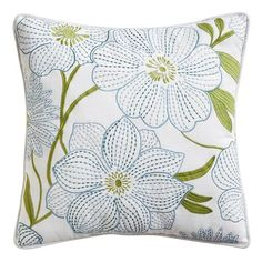 Embroidered Floral Blue & Green w/ White Ground Cotton Pillow - Decorative Pillow w/ Flowers - Thinking of spring . . .