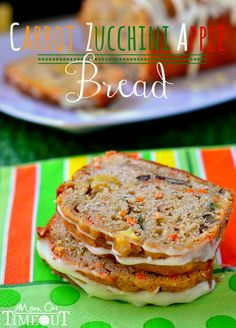 This Carrot Zucchini Apple Bread recipe is incredibly moist and flavorful! Vibrant colors from the carrot, zucchini, and apples makes this bread irresisitble! // Mom On Timeout Healthy Recipes, Sweet Recipes, Drink Recipes, Yummy Recipes, Bread Recipes, Cooking Recipes, Cooking Tips, Delicious Desserts, Yummy Food