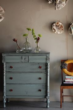 MOM @Susan Potter this is the color I'm thinking for the bedroom furniture we're going to paint...  blue gray dresser
