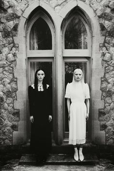 Great juxtaposition of black and white dresses and the feeling you get. Both models are emaciated anyways, so they both look like death. Lovely, hee, hee!