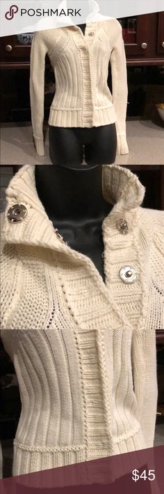 Armani sweater Thick Armani sweater, off white. Pink eagle on the back with logo. It was only worn couple times A/X Armani Exchange Sweaters Crew & Scoop Necks
